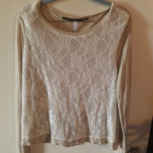 Kensie New Long Sleeve lace front Top Large